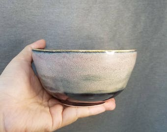 brown and light handmade Japanese ceramic bowl