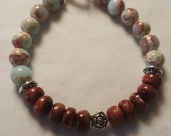 Natural Aqua Terra Jasper with Burgundy Coral beaded bracelet.