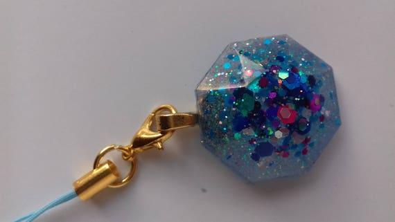 Blue Glitter Resin Phone Charm, Bag Charm, Zipper Charm, Planner Charm by Etsy