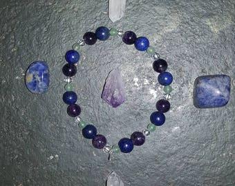 Higher Chakra bracelet. Aventurine, lapis lazuli, amethyst and clear quartz.