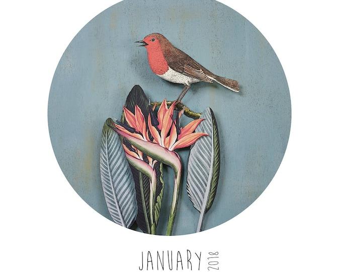 2018 Paper Birds Calendar with Reusable Wooden Hanger