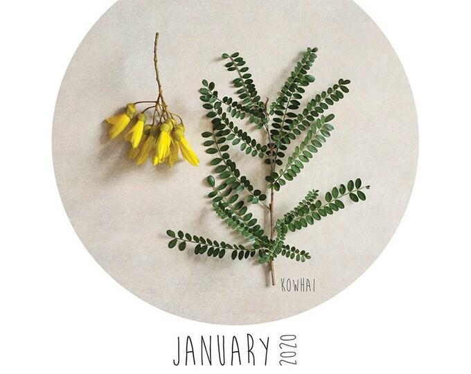 A3 New Zealand Flora calendar + wooden hanger set