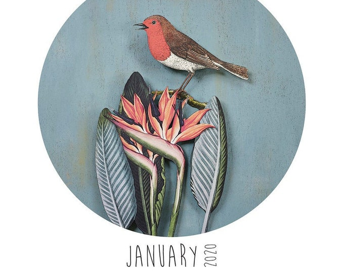 A3 Paper Birds Calendar + Reusable Wooden Hanger set