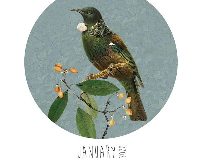 A3 Native Birds Calendar + Reusable Wooden Hanger set