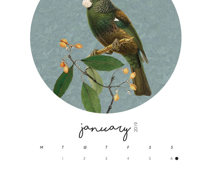 A3 Native Birds Calendar + Reusable Wooden Hanger set