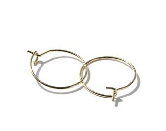 Tiny gold hoops, gold earrings, hoop earrings, wire hoop earrings