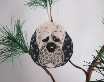 Holiday Ornament/Christmas Tree Decoration/ Ned in Navy Blue