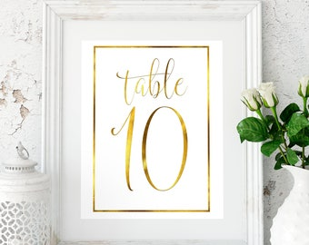 Wedding Table Numbers Printable table numbers Gold wedding reception printables Wedding table decor Rustic table numbers #W3