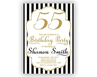 Gold Happy Birthday 55th Invitations Cards 5 X 7 Inch Milestone Eat Drink Be Fifty Five Cheers To 55 49