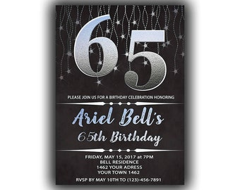 Silver Happy Birthday 65th Invitations Chalkboard Black Cards 5 X 7 Inch Milestone Eat Drink Be Sixty Five Cheers To 65
