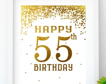 Happy Birthday 55 Gold Sign 55th Party Printable Decor Print Decoration
