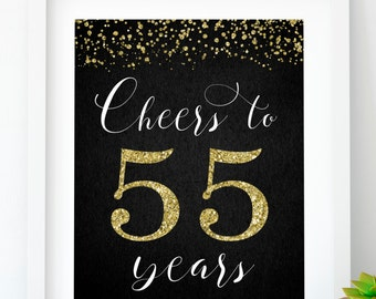 Cheers To 55 Years Printable 55th Birthday Decor Gold Banner Party Anniversary Sign