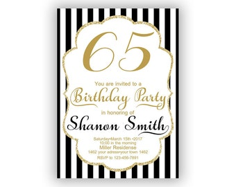 Gold Happy Birthday 65th Invitations Cards 5 X 7 Inch Milestone Eat Drink Be Sixty Five Cheers To 65 51