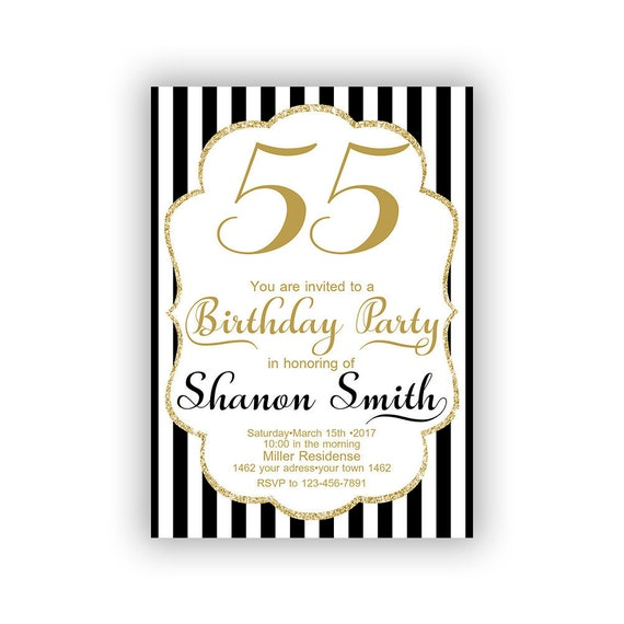 Gold Happy Birthday 55th Invitations Cards 5 x 7 inch   Etsy f88c5813f2