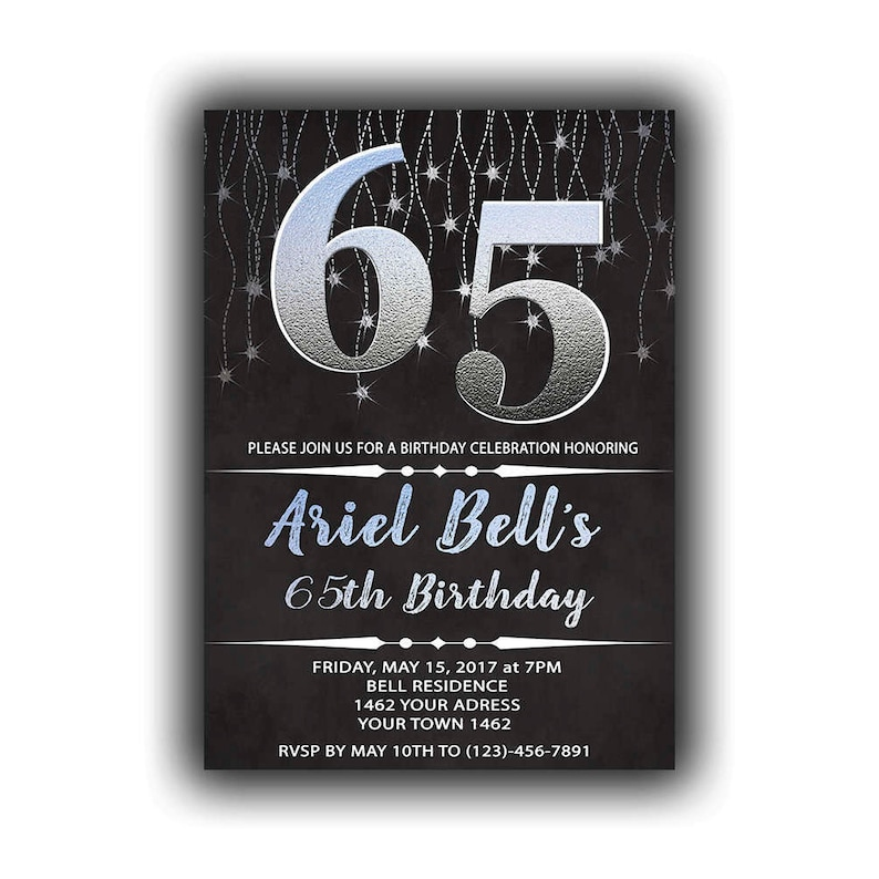 Silver Happy Birthday 65th Invitations Chalkboard Black Cards