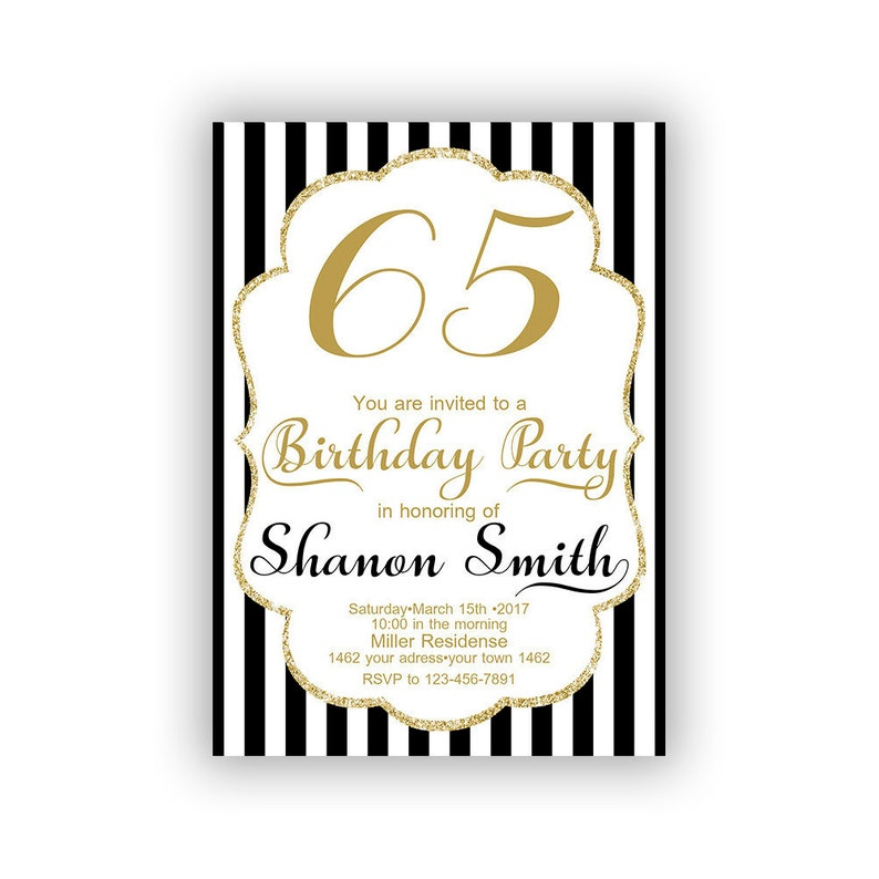 Gold Happy Birthday 65th Invitations Cards 5 X 7 Inch Milestone Eat Dri