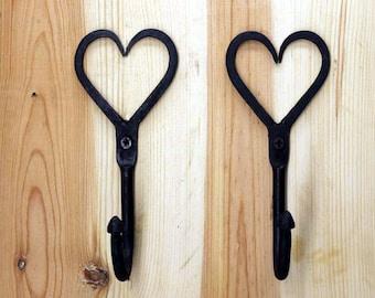Cast Iron Heart Shaped Wall Hooks Pair