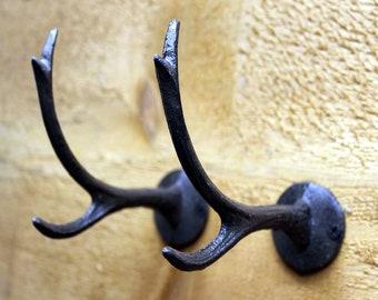 Cast Iron Deer Antler Wall Hooks Pair