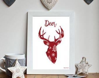 Christmas * deer silhouette red A4 unframed print