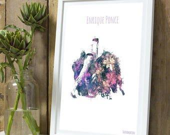 Enrique Ponce 2 color A4 unframed print