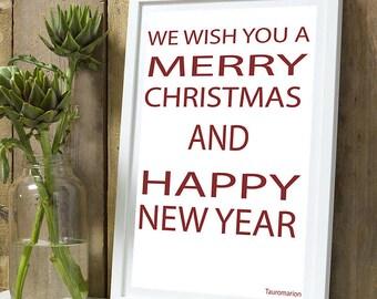 Christmas * We wish Merry Christmas A4 unframed print