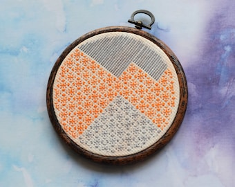 "Orange mountains blackwork embroidery hoop art in 5"" hoop. Home decor; embroidered art; landscape"