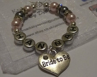 """Personalised """"Bride to Be"""" Wine Glass Charm, Handmade with Diamante Rondelle Spacers"""