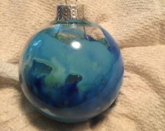 Aqua, blue, white, sea foam green 2in glass ornament