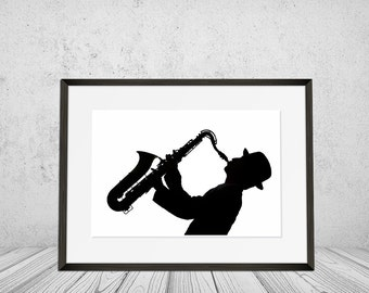 Saxophone Wall Art Print Musical Instrument Saxophonist Black And White Jazz Musician Playing Music Man Digital Download