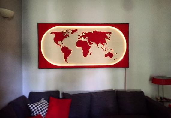 Planisfero Notturno Illuminato.Kindle World Planisfero Illuminato Arredamento Da Parete Illuminazione Design Unico Fatto A Mano Led Luci Mondo