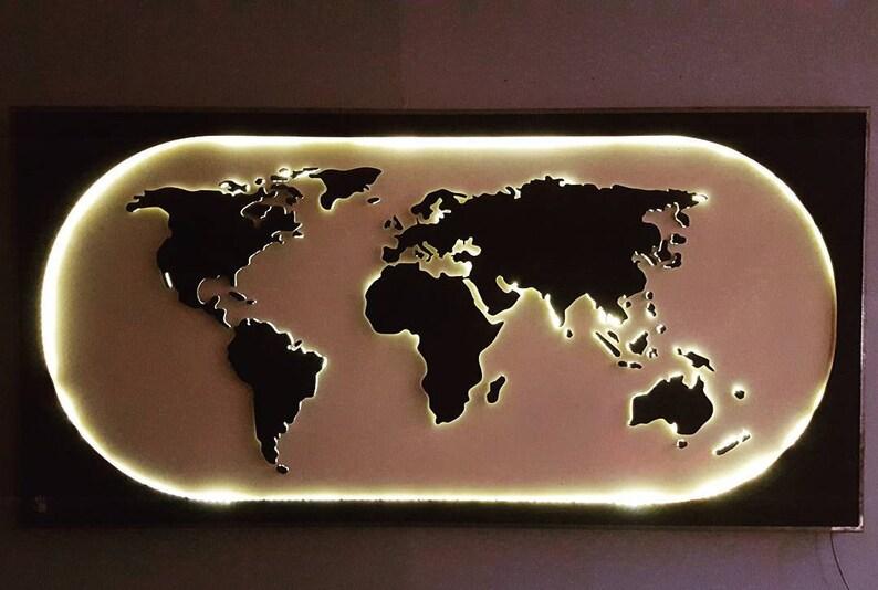 Kindle World World Map Wall Decor Lighting Illuminated Etsy