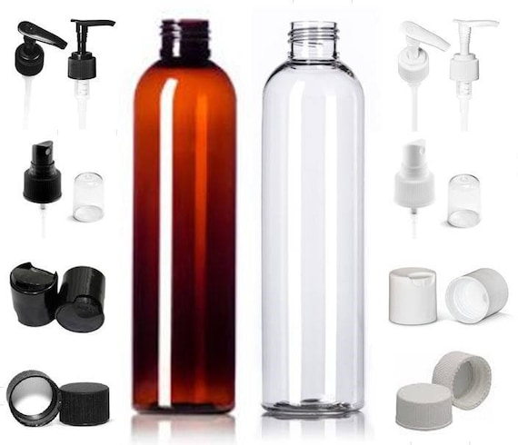 daf3a3672c36 3 Pack 8 oz. Empty Refillable Amber or Clear Bullet Cosmo Round Plastic  Bottles with Tops of your choice BPA Free Shampoo Lotion Soap Bottle
