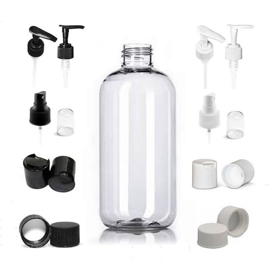 9babdaa03e21 Empty Clear 8 oz. Boston Round Plastic PET Bottles with Caps of your choice  Refillable BPA Free Lotion Soap Bath Gel Bottle ~ 3, 5 or 8 Pack