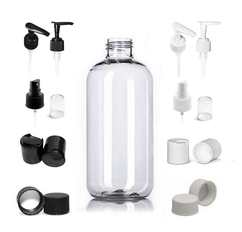 0f4d521ff2f4 Empty Clear 8 oz. Boston Round Plastic PET Bottles with Caps of your choice  Refillable BPA Free Lotion Soap Bath Gel Bottle ~ 3, 5 or 8 Pack