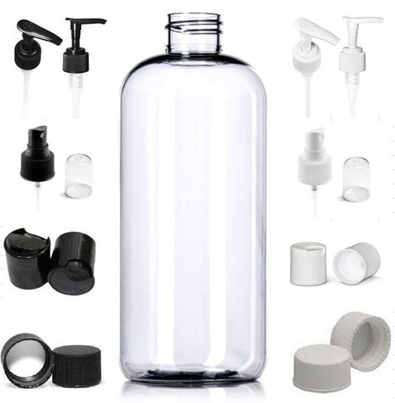 7b8a6352b3f5 2 Pack or 5 Pack Empty Refillable 17 oz Clear Boston Round Plastic PET  Bottles with Tops of your choice BPA Free Lotion Soap Bath Gel Bottle