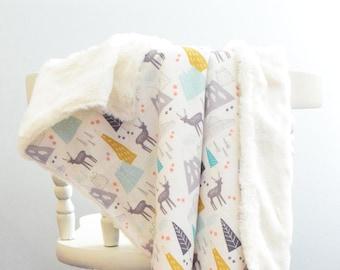 Adventure Woodland Tribal Baby Blanket Luxury Blanket Woodland Friends Lovey Faux Fur Tribal Baby Blanket Forest Animal Baby Blanket