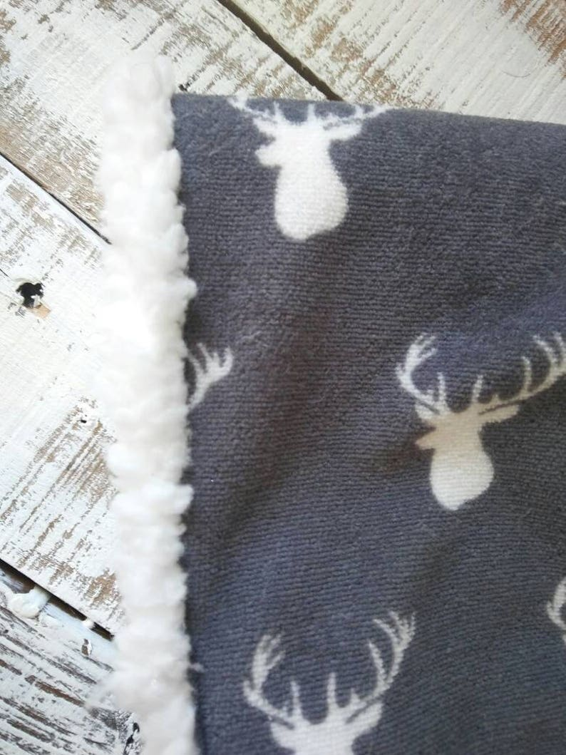 Woodland Nursery Blanket Shepra Luxary Blanket Baby Boy Christmas Gift Minky BabyBoy Blanket Gray and White Antlers Baby Blank