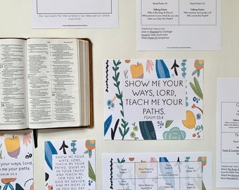 Bible Reading Plan and Calendar for Families, Devotional Calendar, Lamp and Light Bible Reading Guide, Psalms #1