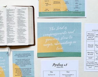 Bible Reading Plan and Calendar for Families, Devotional Calendar, Lamp and Light Bible Reading Guide, Psalms