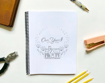 Our Year Homeschool Planner and Learning Tracker, Back or Reverse Planner, Simple planner, academic planner, Botanical, dated and undated