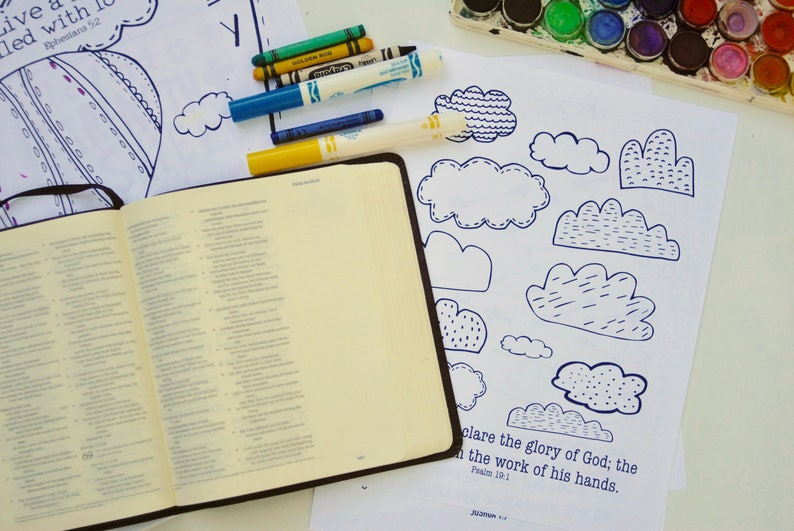 Bible Verse Coloring Pages SET of 20 Coloring Pack for Kids image 0