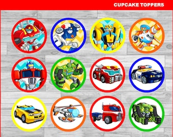 Rescue Bots Toppers Instant Download Printable Party Cupcakes Topper