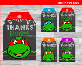 Ninja Turtles Thank you Tags Instant download, Ninja Turtles Chalkboard tags, Ninja Turtles party Thank you Tags