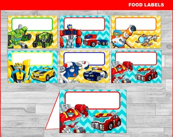 Rescue Bots Food Tent Cards instant download, Printable Rescue Bots party Food labels, Rescue Bots Food table labels