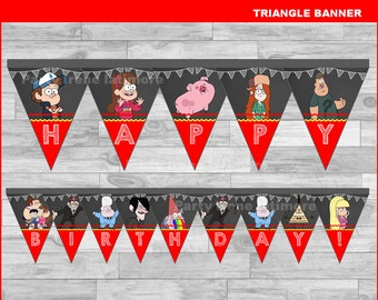 Gravity Falls triangle Banner Instant download, Gravity Falls Chalkboard Banner, Gravity Falls party banner
