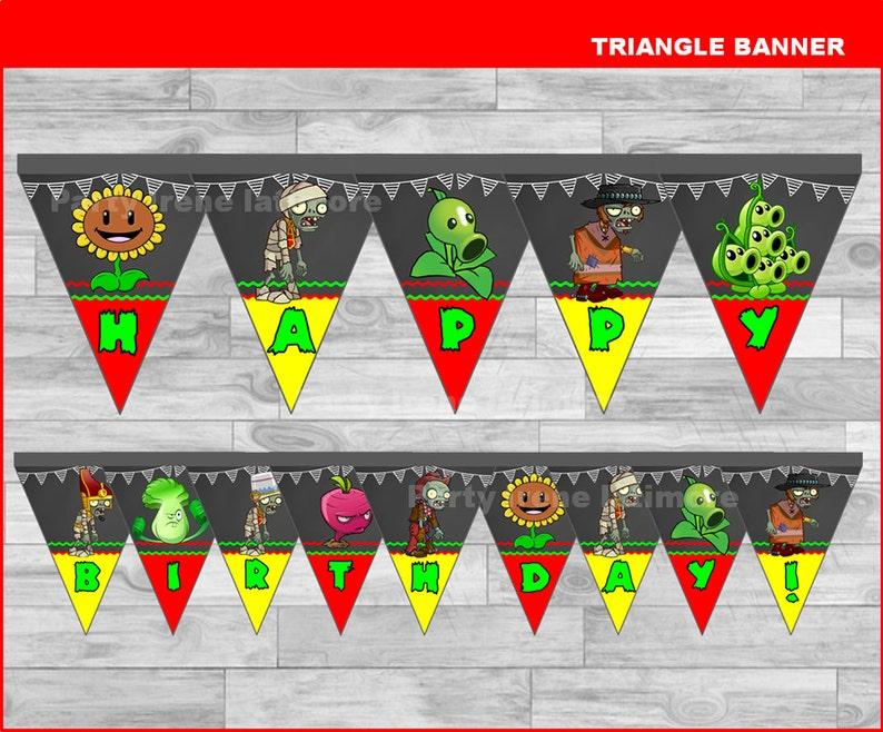 Plants vs Zombies triangle Banner Instant download Plants vs image 0