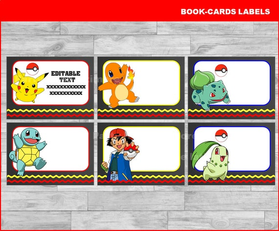 graphic relating to Pokemon Printable Cards referred to as Pokemon Printable Playing cards, tags, reserve labels, stickers, little ones playing cards, present tags, labeling, sbooking EDITABLE Prompt Obtain