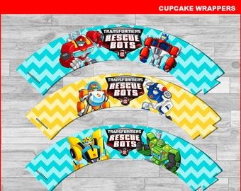 Rescue Bots Cupcakes wrappers, Printable Rescue Bots wrappers, Rescue Bots party Cupcakes wrappers Instant download