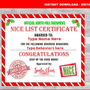 nice list certificate santa claus north pole elf christmas certificate instant download - Christmas Card List