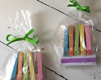 Handmade magnetic pegs gift bag great for teacher made with polka dot washi tape